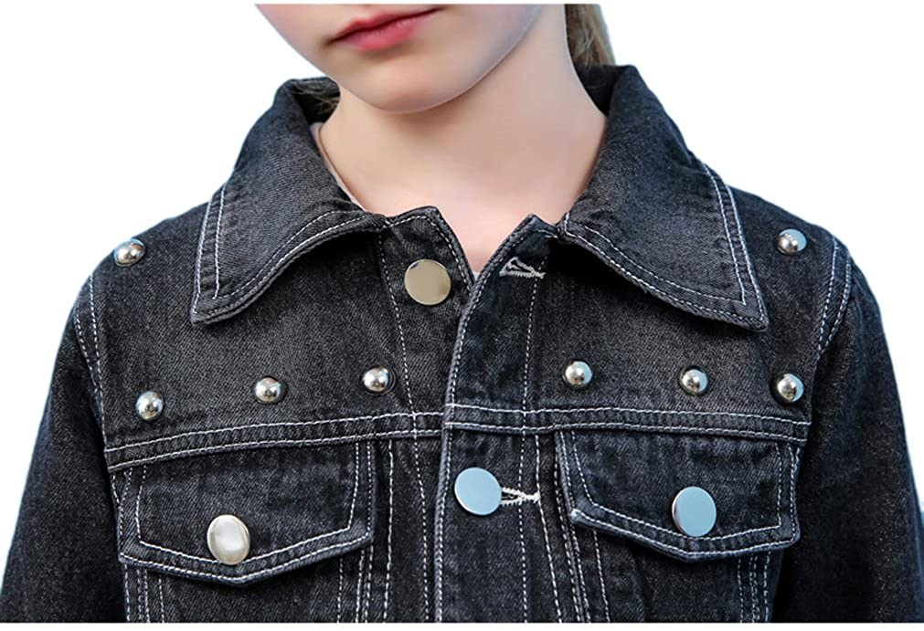 YUFAN Girls Punk Rivets Studded Beaded Black Denim Jean Jacket Girls Black Trucker Jacket
