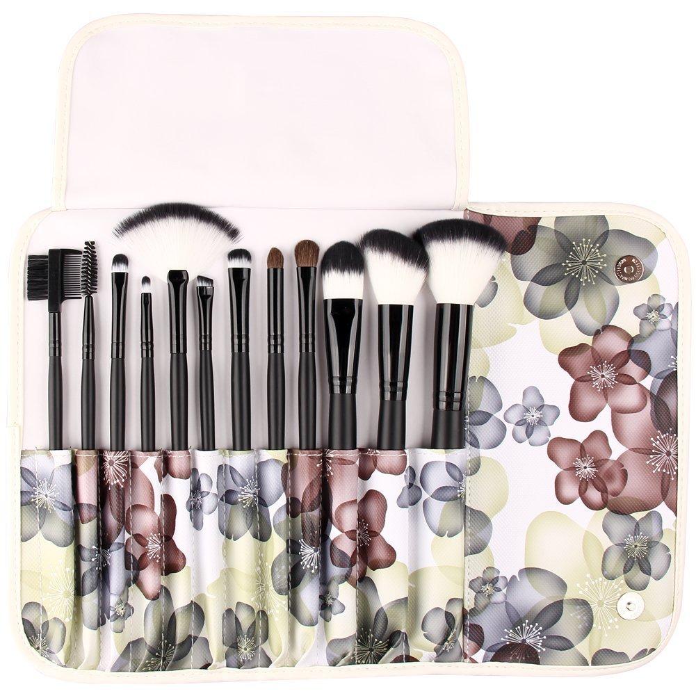 UNIMEIX Makeup Brushes 12 Pieces Synthetic Makeup Brush Set Foundatipn Powder Concealer Blending Eyeshadow Brush With Flora Leather Bag (Black)