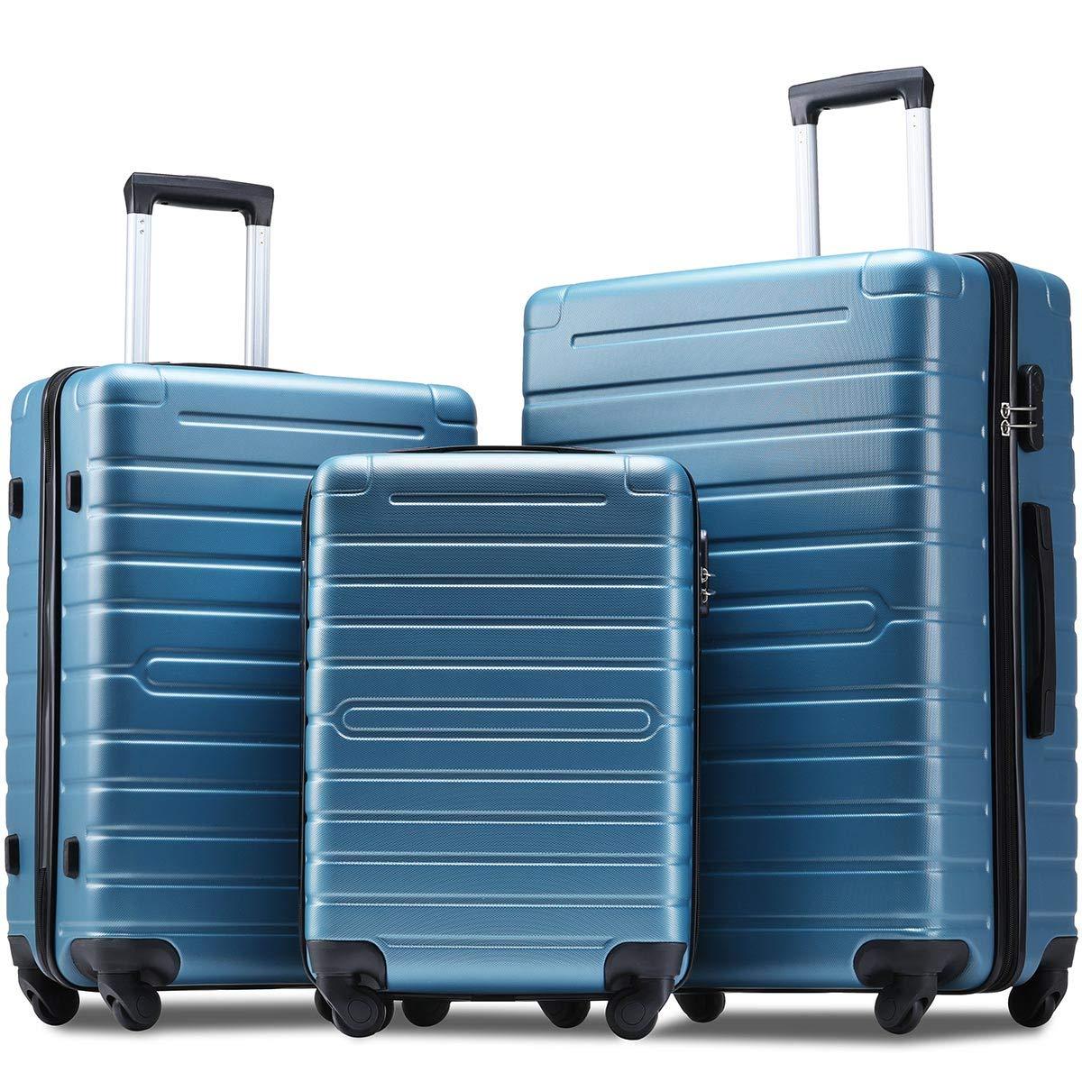 Flieks Luggage Sets 3 Piece Spinner Suitcase Lightweight 20 24 28 inch (Steel Blue)