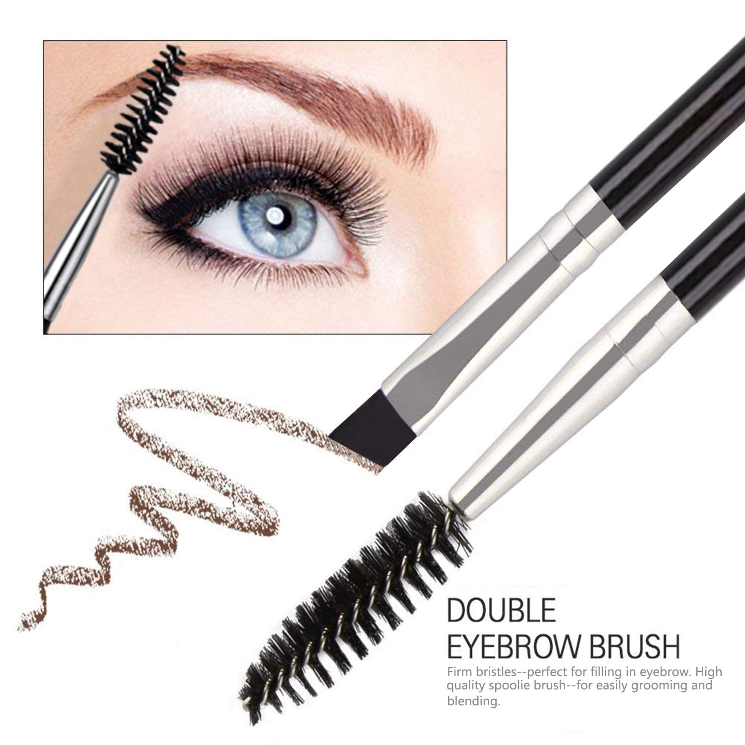 FITDON Eyebrow Grooming Set, Professional Slant Tip Tweezers & Curved Stainless Steel Scissors & 3PCS Brow Razors Trimmer & Duo Angled Eyebrow Brush with Spoolie: Beauty