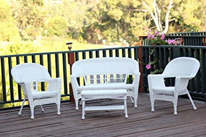 Amazing Jeco 4 Piece Resin Wicker Modern Patio Sofa Set In White Squirreltailoven Fun Painted Chair Ideas Images Squirreltailovenorg
