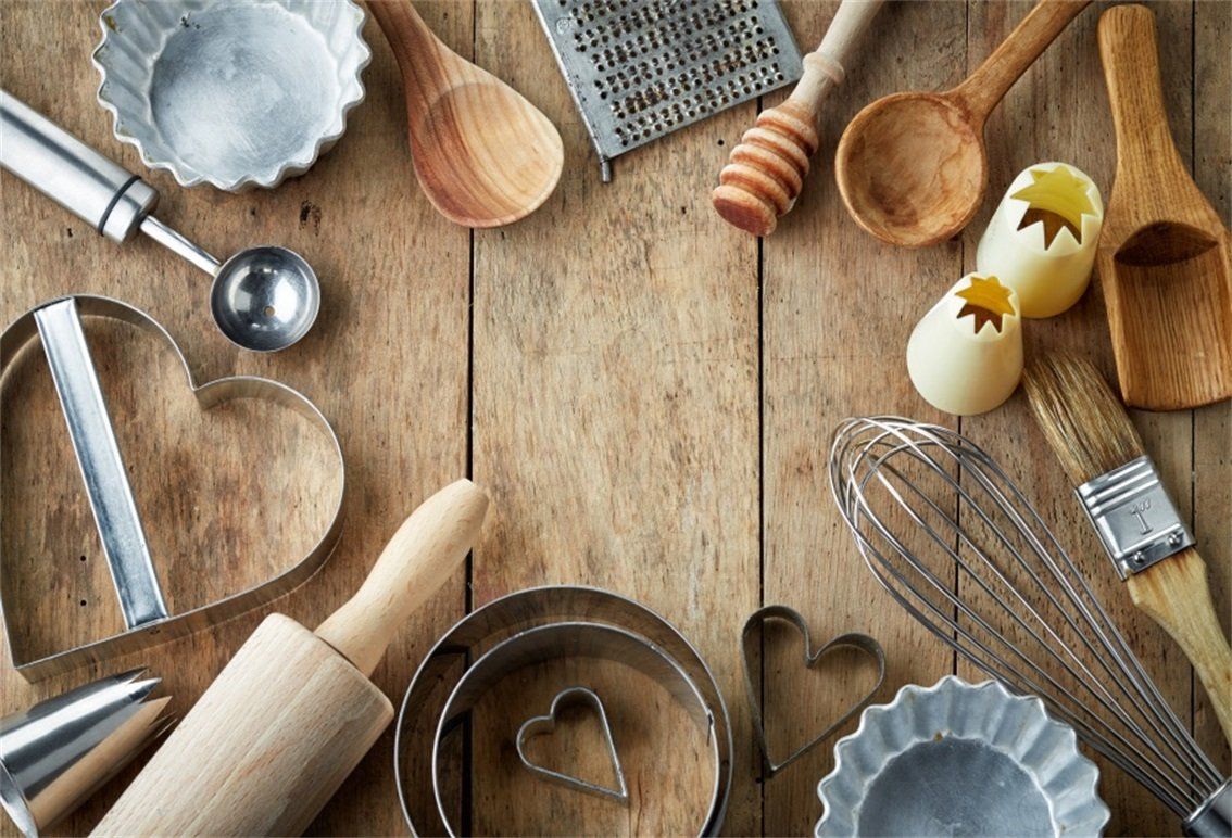 AOFOTO 5x3ft Kitchen Baking Utensil On Rustic Wood Board Backdrop Tableware DIY Food Flatware Photography Background Home Cooking Tools Photo Studio Props Domestic Woman Artistic Portrait Wallpaper