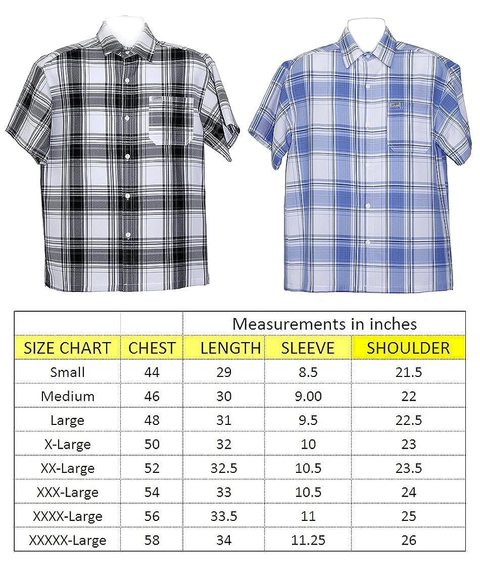 ALLBrand Mens Casual Short Sleeve Button-up Checkered Plaid Shirt