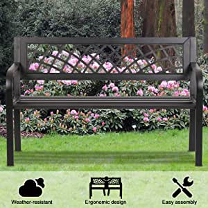 Patio Bench Outdoor Bench Park Bench Metal Sturdy Cast Iron Garden Bench Porch Chair Seat Furniture with Armrests 480BLS Bearing Capacity for Park Yard Deck Entryway, Black