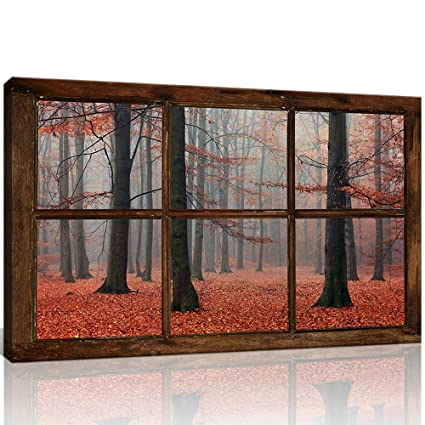 7a4202f57e64c KLVOS Large Fake Window Style Tree Wall Art Old Red Forest Poster Prints  Landscape Modern Home