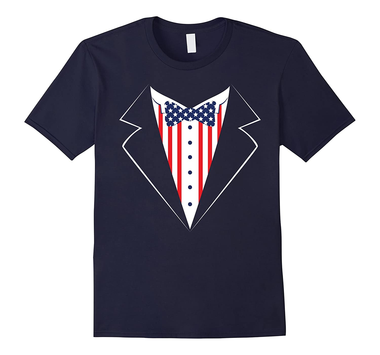 Red White and Blue Tuxedo Shirt Funny 4th of July America-Vaci