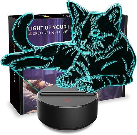Amazon.com: Lámpara de noche 3D para mascotas, gatos, gatos ...