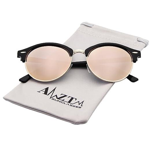 295f2f2d52 AMZTM Semi-Rimless Wayfarer Sunglasses Retro Classic Polarized Sun Glasses  (Black Frame Pink Lens