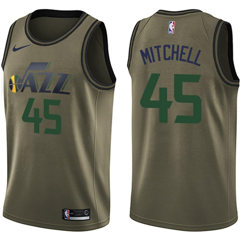 b1eaefd488d ... Nike Mens Utah Jazz 45 Donovan Mitchell Green Swingman Jersey Salute to  Service - Green ...