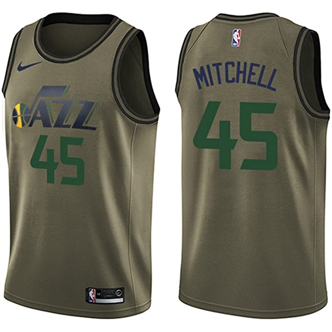 official photos 0f8d9 87ccc NIKE Men's Utah Jazz #45 Donovan Mitchell Green Swingman ...