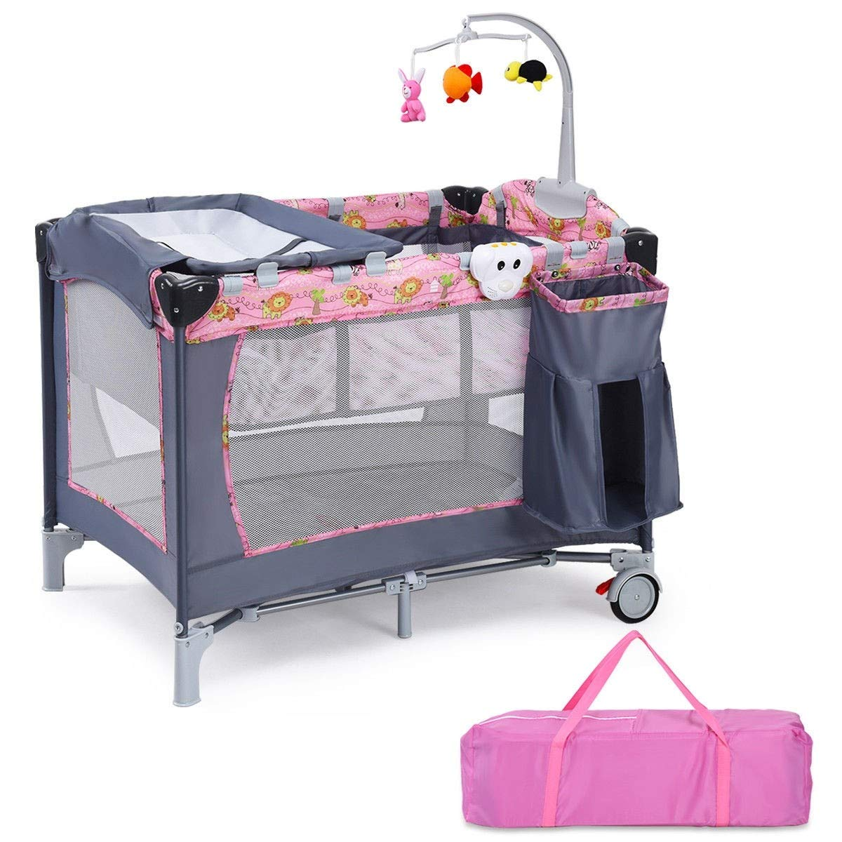 LHONE Baby Trend Pack Play Foldable Travel Bassinet Bed Baby Trend Nursery Center 3 in 1 Reversible Napper and Changer Baby Travel Infant Bassinet Gray Bed (Pink) by LHONE