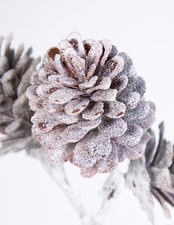 Seidenblumen Ro/ß Zapfenzweig geeist 54cm DP Kunstzweig k/ünstlicher Zweig mit Zapfen Tannenzapfen EIS Schnee
