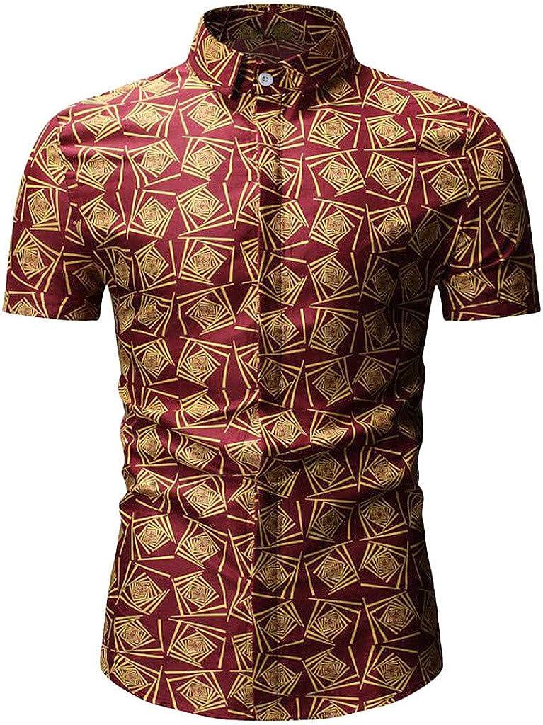 Tiitstoy 2019 Mens Summer Slim Plaid Tee Shirts Button Short Sleeve Lapel Blouse Top