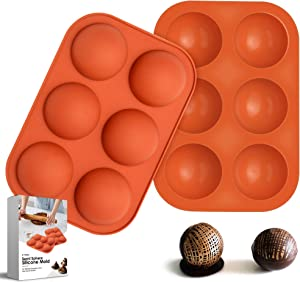 6-Holes Medium Semi Sphere Silicone Molds for Chocolate,Baking Mold for Making Hot Chocolate Bombs,Cake,Jelly,Pudding,Dome Mousse,Handmade Soap,Round Mold Non Stick,BPA Free Cupcake Baking Pan. (2)