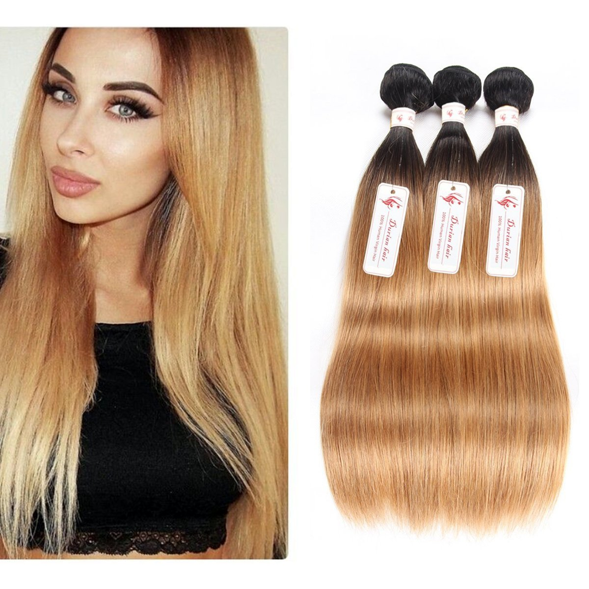 "Durian Hair Brazilian Straight Human Hair Ombre Color T1B-27 Straight Ombre Hair Weave 3 Bundles 300g (10"" 12"" 12"") inch"