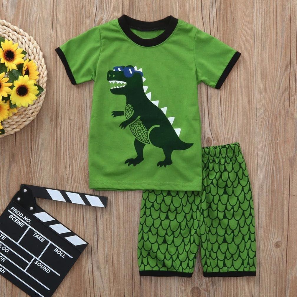 Baby Boys Kids Toddler Cartoon Dinosaur Vest Tops Shorts Pajamas Outfit Clothes