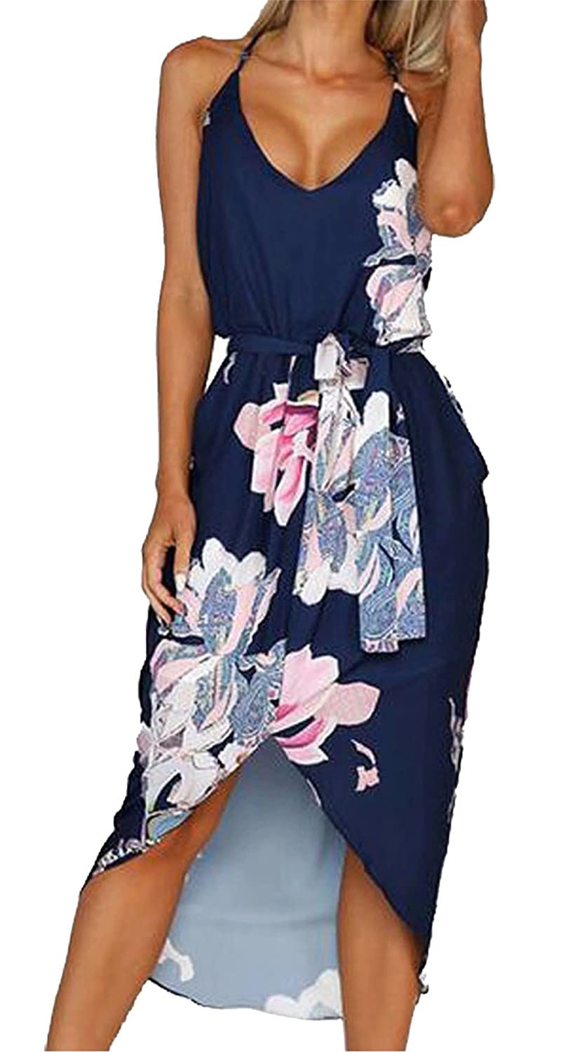 LUKYCILD Women Sleeveless V Neck Floral Print Beach Party Split Midi Dress C1904
