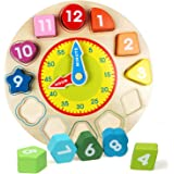Webby Wooden Early Educational Teaching Clock-Time & Shapes Sorting Toy for Kids, 12 Pcs