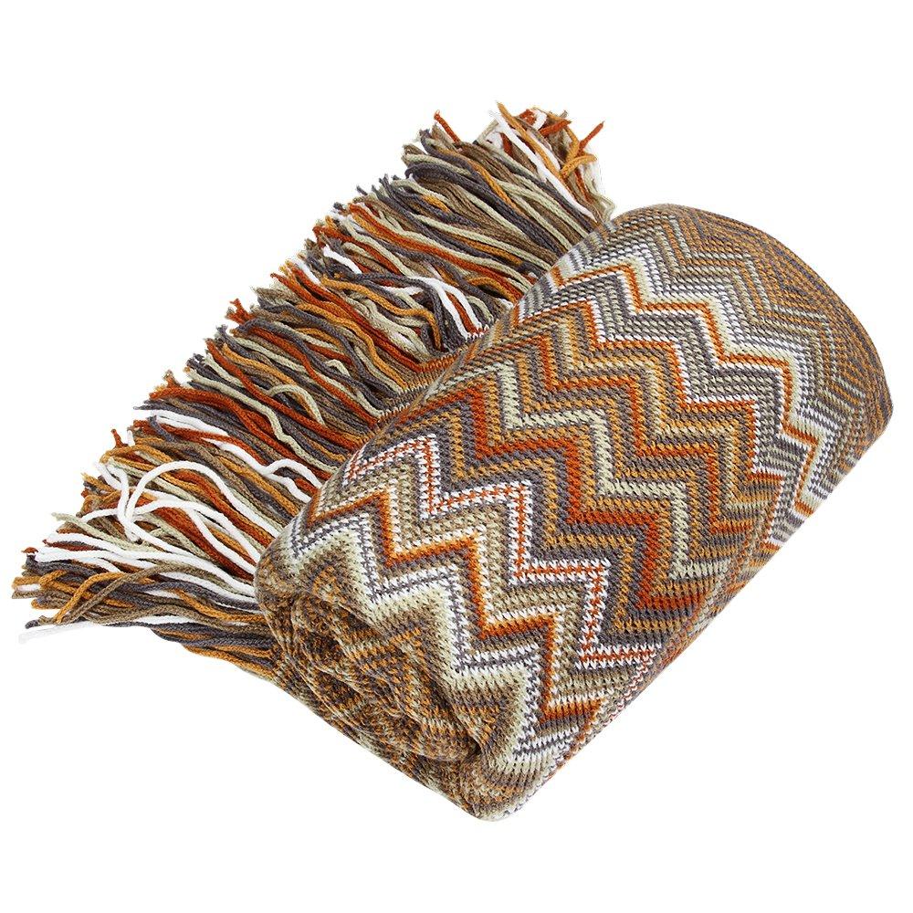 Bohemian Style Sofa Throws Warm Thick Armchair Cover Soft Cotton Thread Blanket, 130 cm x 160 cm (Blue) Coralov