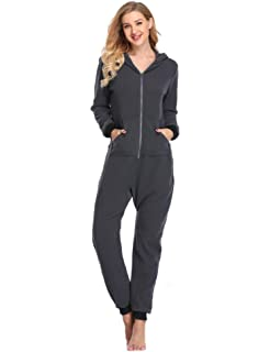 439288a89f Lusofie Womens Lazy Adult Onesie One-Piece Pajamas Hooded Non-Footed  Jumpsuit