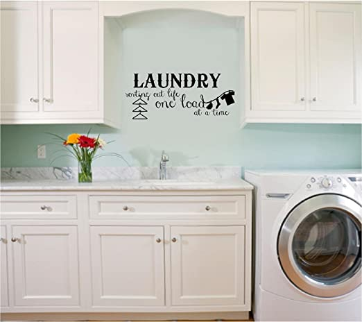 Wall Art Sticker Quote Vinyl Lettering Laundry Sorting Out Life One Load At A Time A Amazon De Kuche Haushalt