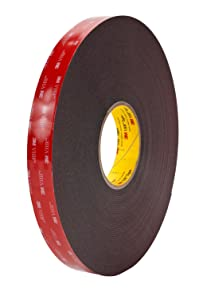 "3M VHB Heavy Duty Mounting Tape 5952, 0.5"" width x 5yd length (1 Roll) (4 Pack (1 Roll))"