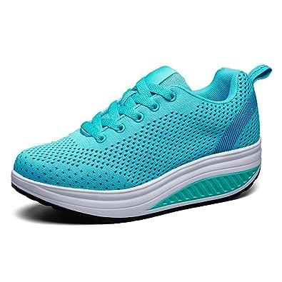 996b73062b6b7 LFEU Femme Chaussure de Sport Basket Mode Compensé Gothique orthoptique  Maille Tissu Respirant Légère Bleu 35