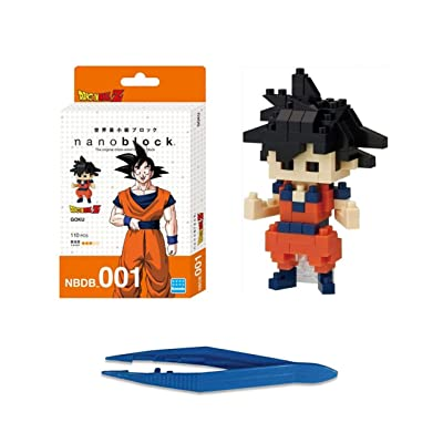 Nanoblock Dragon Ball Z Goku + Gift Tweezers Plastic Cube Building Blocks (Smartoys): Toys & Games