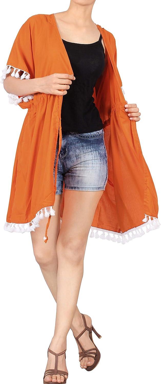 Vintage Rayon Estivo Scialle Elegante Solido Kimono Vestito Corto Estate Boho Tunica Etnica Abito da Spiaggia C LA LEELA Copricostume Mare Cardigan Donna Taglie Forti