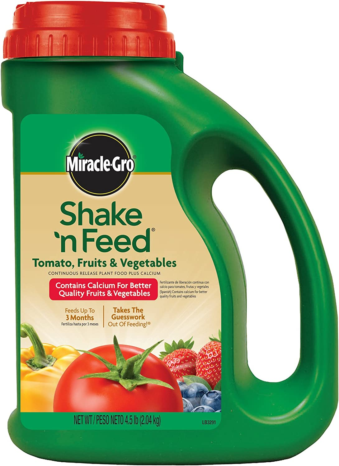 Miracle-Gro Shake 'n Feed Continuous Release Plant Food with Calcium for Tomatoes, Fruits, and Vegetables, 4.5-Pound (Slow Release Plant Fertilizer)