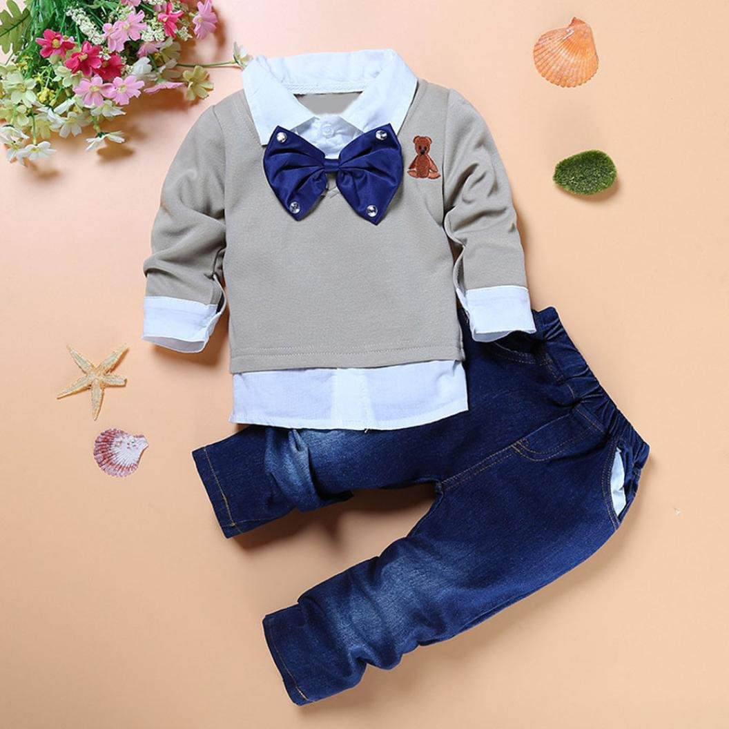 FEITONG 1Set//2Pcs Little Kids Baby Boys Long Sleeve Tops Long Pants Clothes Outfits 6T // 6Years