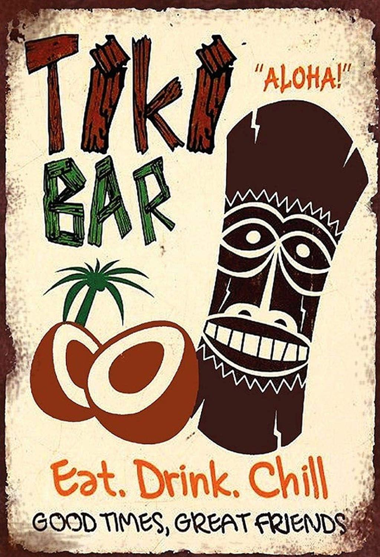 KELLEN WHITEHEAD with Tiki Bar Hawaii Aloha Design Affiche De D/écoration Dr/ôle De Panneau De Mur en M/étal Art