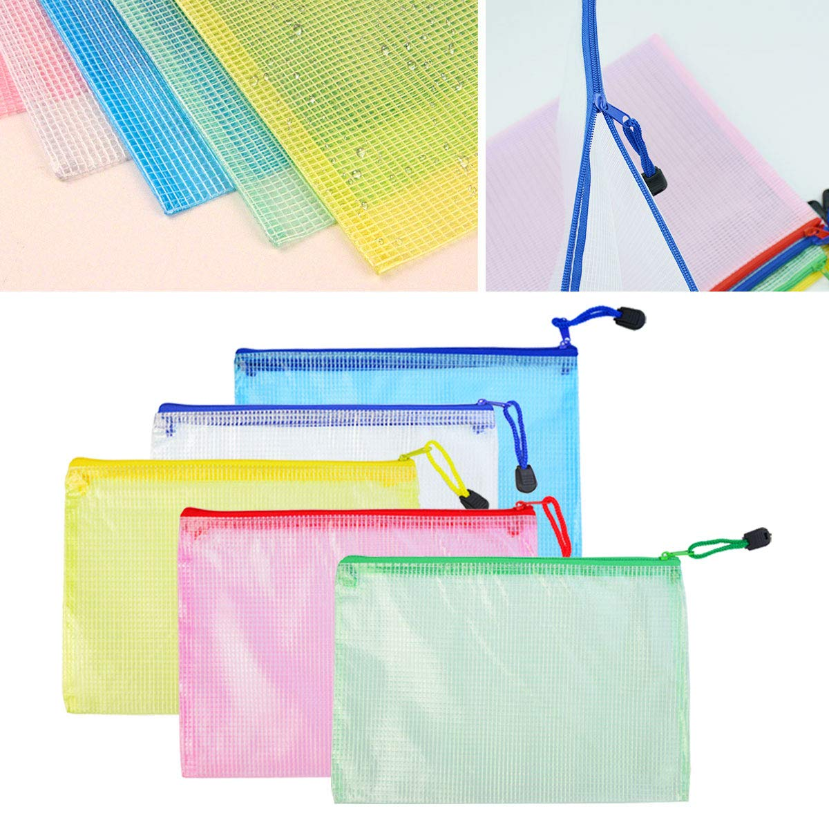 Lystaill 15pcs A5 Zipper File Bag PVC Mesh Document Bag Plastic Wallet Pouch for Office School Supplies Travel