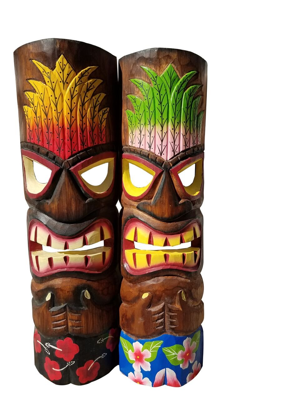 Set of Two Wooden Handcarved 20'' Tall Tiki Masks Hawaiian Beach Style with Flower Shorts!!