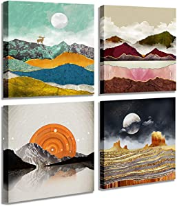 "Abstract Geometric Watercolor Painting Wall Decoration-Deer Mountain River Landscape Desert Forest Sunrise Scenery Print Picture Canvas Wall Art for Living Room Bathroom Office Home Decor 14""X14"""