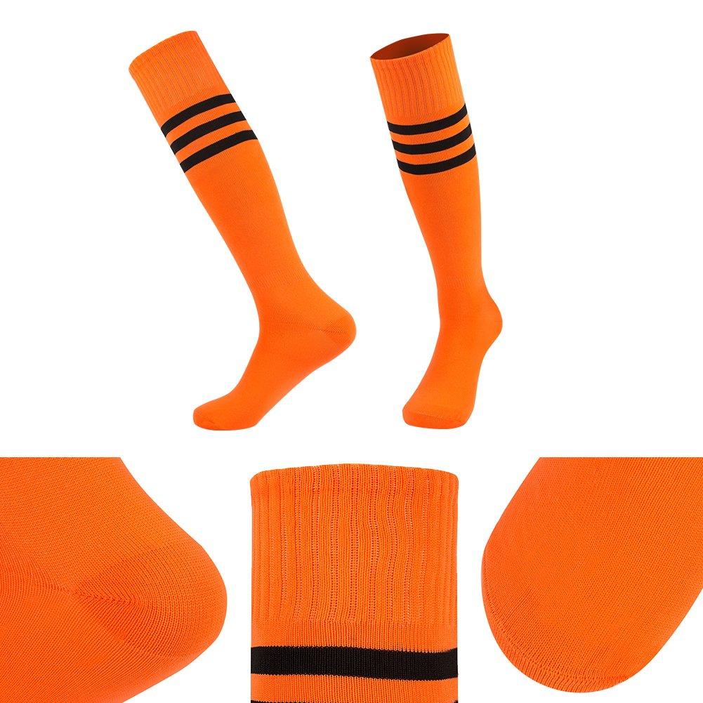 f25e56a10cc ... Dodove Unisex Soccer Athletic Knee High Triple Stripe Tube Sock 2 4 6  Pairs