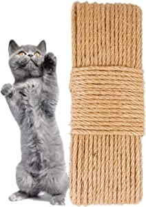 Cat Scratching Rope 90 Feet -6mm Diameter,Durable Natural Hemp Sisal Cordage for Crafts Furniture Protection Scratch Post Replacement Repairing,Ideal Round Twisted Cord DIY Cat Toy for Pet Climb