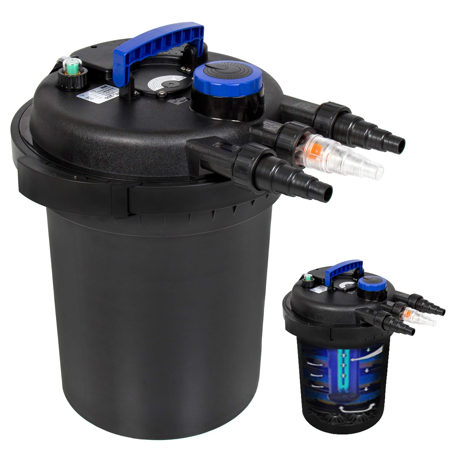 Best Choice Products 4000L Pressure Bio Filter for Pond w/ 13W UV Sterilizer Purifier Light, Flow Indicator - Black/Blue by Best Choice Products