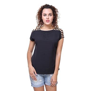 e07ffc0abb955 Deewa Black Cap Sleve Top  Amazon.in  Clothing   Accessories