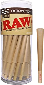 RAW Cones Classic King Size | 50 Pack | Natural Pre Rolled Rolling Paper with Tips & Packing Sticks Included