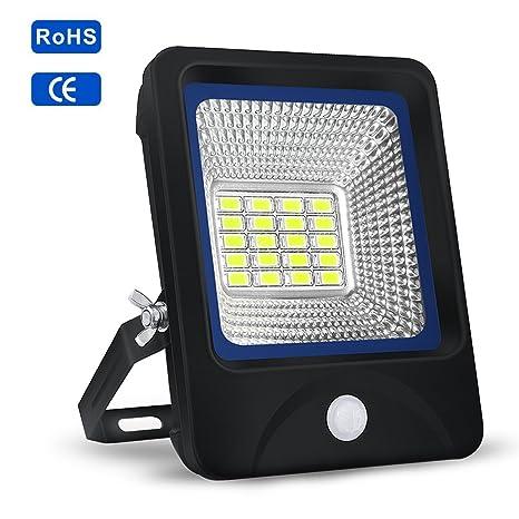 Proyector LED 10W,S&G FOCO LED Sensor de Movimiento + Control de Iluminación 6000K 1000LM