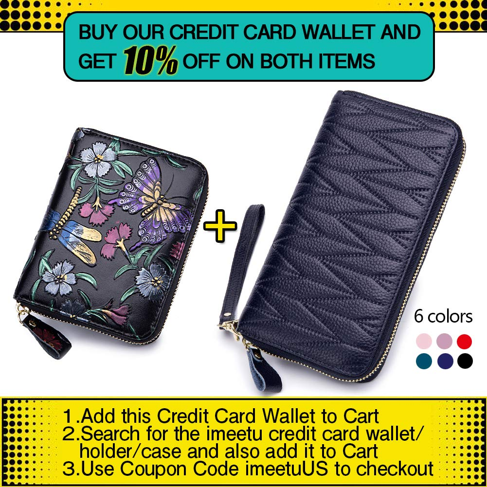 Butterfly and Dragonfly imeetu Women RFID Blocking Leather Credit Card Holder case Accordion Wallet 24 Slots Purses with Zipper Pocket Hand-painted color