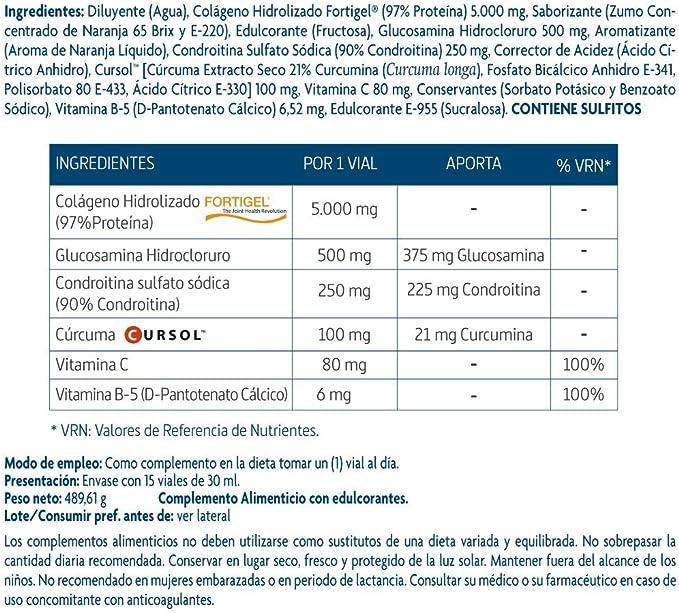 Nature Essential - Confortflex colágeno líquido hidrolizado con colágeno, glucosamina, condroitina, vitamina C, vitamina B-5 y cúrcuma – 15 viales: Amazon.es: Salud y cuidado personal