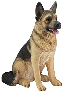 """Ebros Large Lifelike Realistic German Shepherd Dog Statue with Glass Eyes 21.25"""" Tall Replica Collectible Dog Patio and Home Decor Sculpture Dogs Pets Puppies Decorative"""
