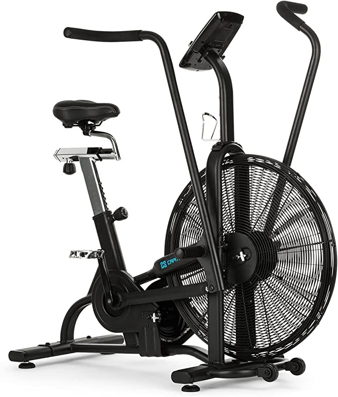 Capital Sports Strike Bike - Bicicleta estática, Cardioentrenador, Ventilador de Resistencia, Ordenador Integrado, Bluetooth, Altura y Fondo Ajustables, Soporte ...