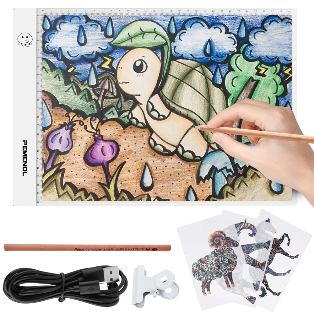 PEMENOL Light Tablet for Tracing, A4 LED Trace Light Box Pad Portable Ultra-Thin for Artists, Drawing, Sketching, Animation, Gift, Toys for Kids
