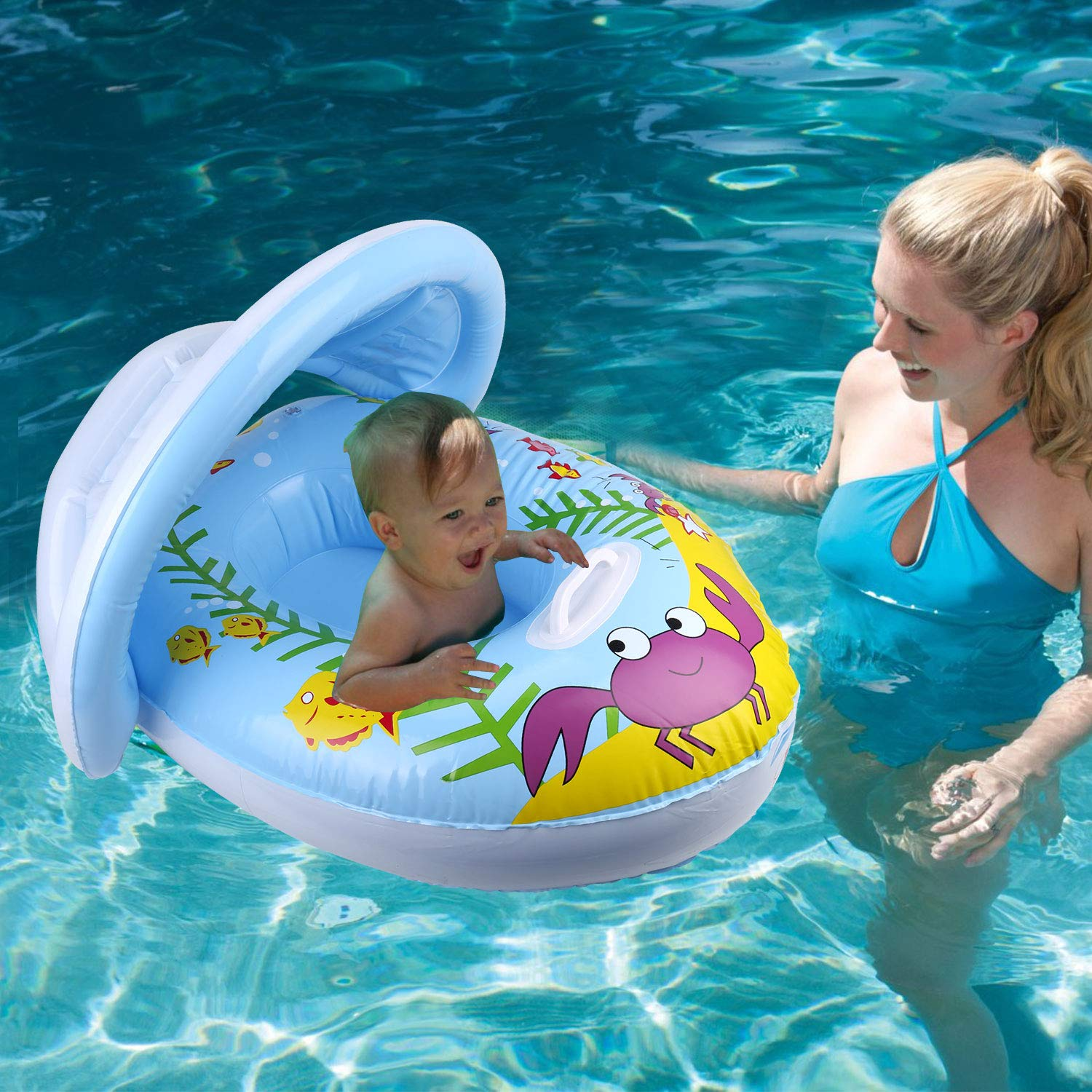 IAMGlobal Baby Pool Float with Canopy Infant Inflatable Swimming Ring Swimming Floats Baby Floatie Crab 12-36 Months Beach Pool Water Toys for Infant Toddler Baby