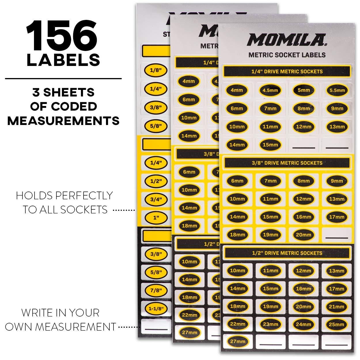 Socket Organizer Trays - 6 Piece Socket Tray Set Black SAE & Yellow Metric | 1/4-Inch, 3/8-Inch & 1/2-Inch Drive Socket Holder | Premium Quality Tool Organizers by Momila (Image #6)