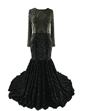 7c16e929f9299 gsunmmw Sexy Mermaid Prom Dresses 2019 Illusion Long Sleeves Formal Pageant Evening  Party Gown Plus Size