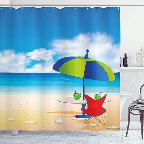 Summer Holidays in Beach Seashore Shower Curtain Set Bathroom Polyester Fabric